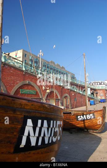 Fishing boat on Brighton seafront, England - Stock Image