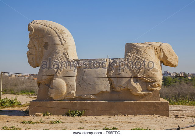Stone Lion at Archaeology Site of Susa - Stock Image