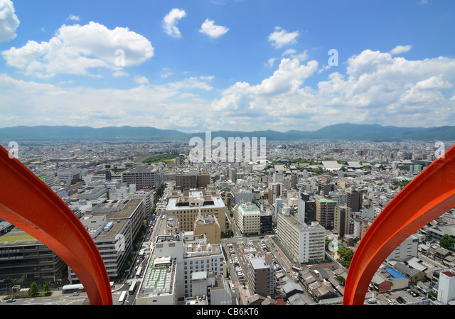 Aerial view of Kyoto, Japan. - Stock Image