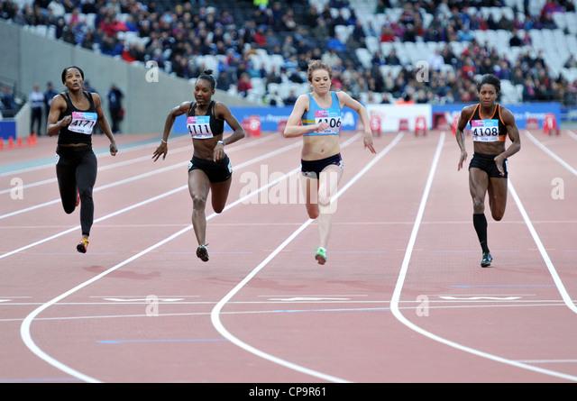 OLYMPIC 2012 ATHLETICS STADIUM, LONDON, UK. Womens 100m at the London Test-Event, BUCS VISA  Athletics Championships - Stock Image