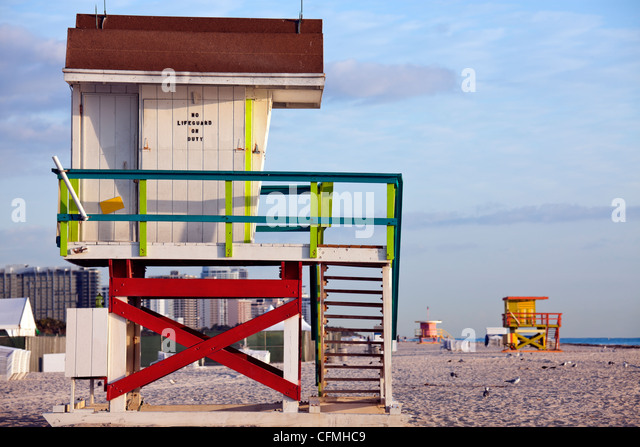 USA, Florida, Miami Beach, Lifeguard hut - Stock Image