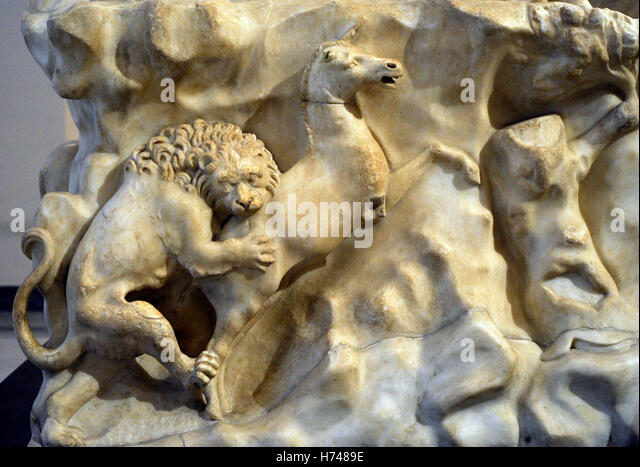 The Farnese Bull. Roman copy (3rd century AD) of a Hellenistic sculpture. Myth of Dirce. Base. Relief. Hunting scene. - Stock Image