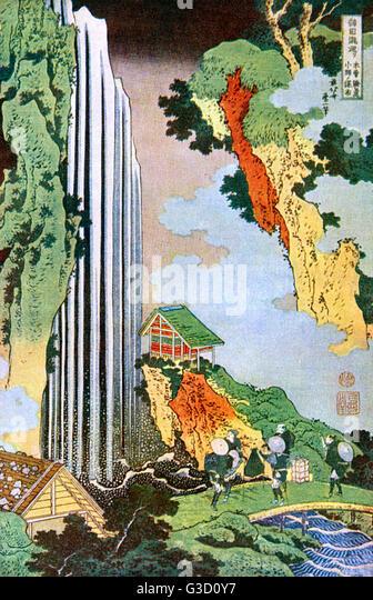 Reproduction of a woodcut by Katsushika Hokusai (1760 - 1849) entitled: 'The Waterfall at Ono'.     Date: - Stock Image