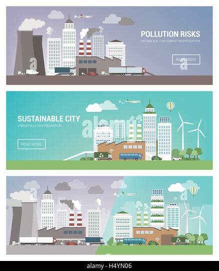 Clean and polluted city banners set, environmental care and urban sustainability concept - Stock Image