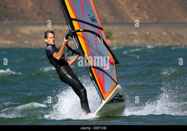 Wind Surfing in the Columbia River Gorge, USA - Stock Image