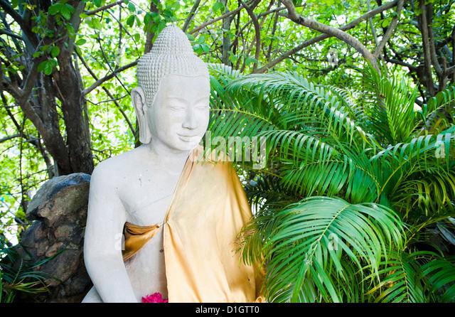 Stone Buddha in The Silver Pagoda at The Royal Palace, Phnom Penh, Cambodia, Indochina, Southeast Asia, Asia - Stock Image