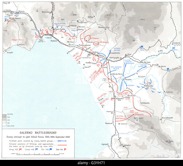ITALY: Battle Salerno Beachhead (9th to 16th Sep 1943) : Battleground, 1973 map - Stock Image