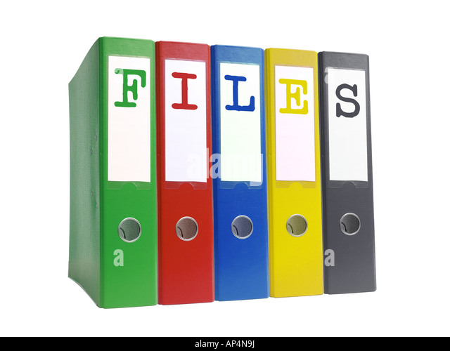 Row of five empty colorful ring binders spelling Files isolated on white background - Stock-Bilder