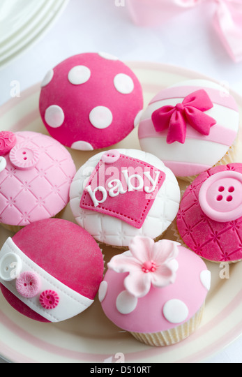 Baby shower cupcakes - Stock Image