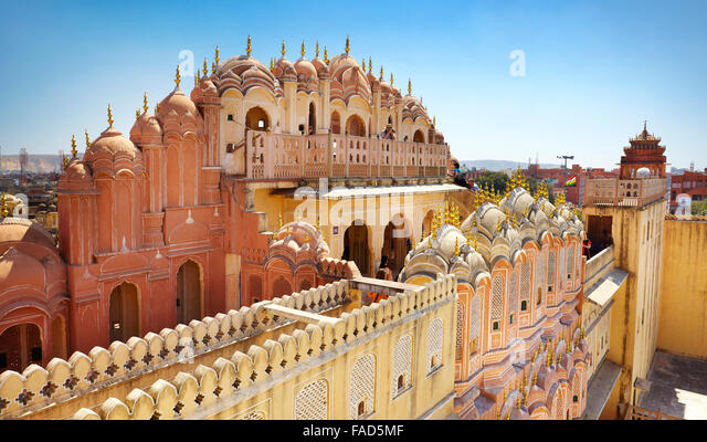 Rear view of the Hawa Mahal, Palace of the Winds, Jaipur, Rajasthan, India - Stock-Bilder