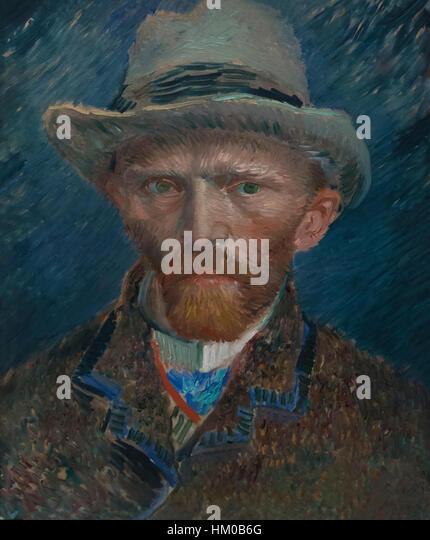 Self-portrait, by Vincent van Gogh, 1887, oil on cardboard, Rijksmuseum, Amsterdam, Netherlands, Europe, - Stock Image