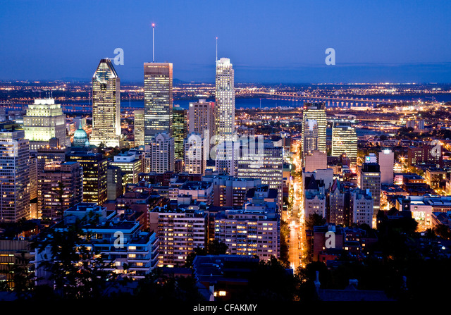 View of Montreal from Mont Royal, Montreal, Quebec, Canada. - Stock Image