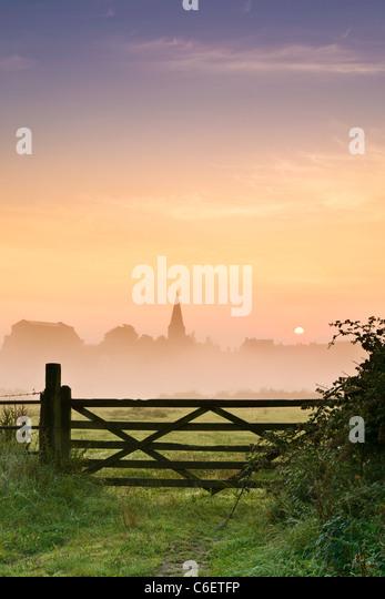 Wiltshire Summer Sunrise - Portrait - Stock Image