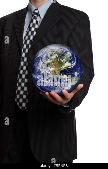 Businessman with the world in his hands - Stock Image