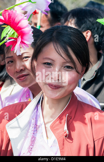 Women celebrating on 100th anniversary of the birth of President Kim Il Sung, April 15th 2012, Pyongyang, North - Stock-Bilder