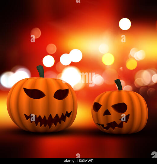Halloween background with 3D pumpkins on a bokeh lights background - Stock Image