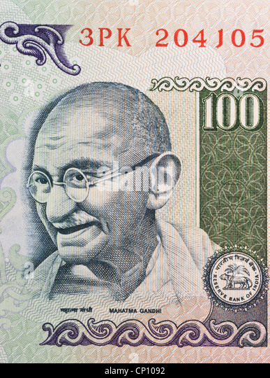 Partial view of an Indian 100 rupees bill with the portrait of Mahatma Gandhi. India, Asia - Stock-Bilder