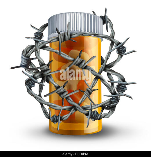 Prescription drug security and medication safety concept as a 3D bottle of pills wrapped with barbed or barb wire - Stock Image