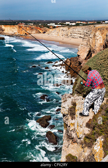 Cliff top fishing, fortaleza, sagres, portugal - Stock Image