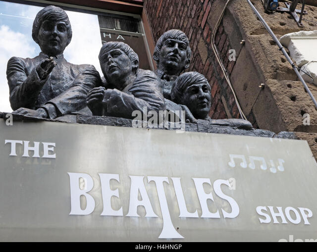 Beatles shop - Mathew Street,Beatles Cavern walks,Liverpool,Merseyside,England - Stock Image
