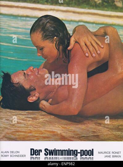 Alain delon romy schneider alain stock photos alain for Piscine b24
