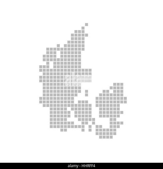 map of pixels: denmark - Stock Image