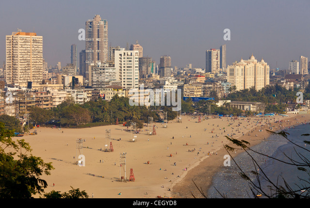 Chowpatty Beach, Bombay Mumbai with Marine Drive Skyline - Stock Image