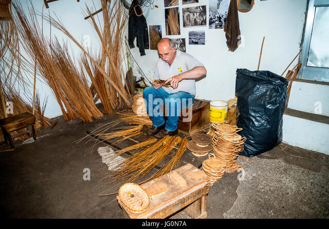 The village of Camacha in the mountains above Funchal is a centre of weaving willow - Stock Image