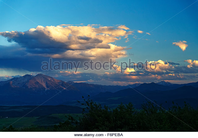 Sunset on the mountains of the Snowmass Wilderness Aera of Colorado - Stock Image