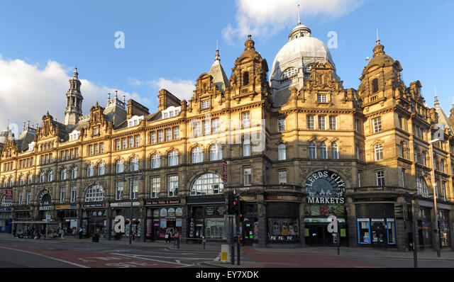 Leeds Kirkgate City Market building panorama, largest covered market in Europe,Vicar Lane - Stock Image