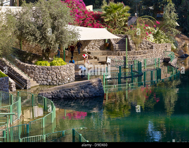 Yardenit, commercial baptismal site at the Jordan River near the Sea of Galilee, Israel - Stock Image