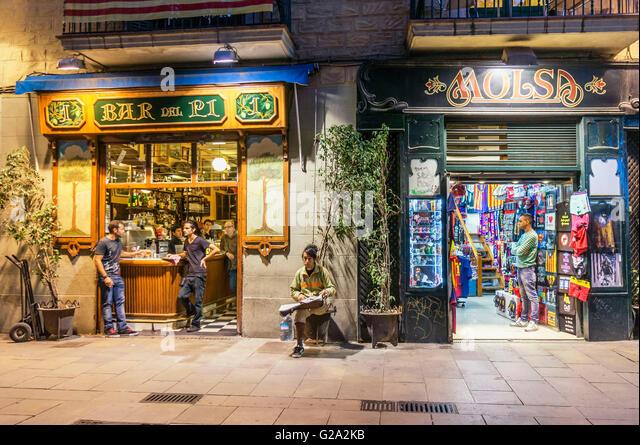 Bar del Pi, Plaça Sant Josep Oriol, Barcelona, Spain - Stock Image