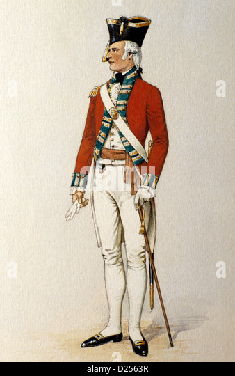 British Military Print, Redcoat, Green Howards Museum, Officer 1792, 18th century soldier soldiers uniform uniforms, - Stock Image