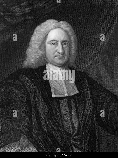 Edmond Halley, 1656 - 1742, an English astronomer, geophysicist, mathematician, meteorologist, - Stock Image