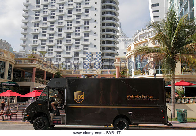 Miami Beach Florida 15th Street UPS delivery van truck - Stock Image