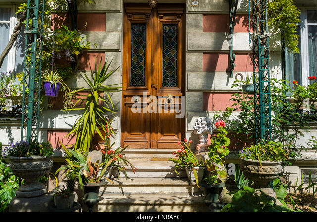 Paris, France, Charenton-Le-Pont, Suburbs, Detail, Front Door to Private House, French Real Estate, Residential - Stock Image