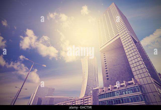 Urban landscape in retro style, Warsaw skyline, Poland. - Stock Image