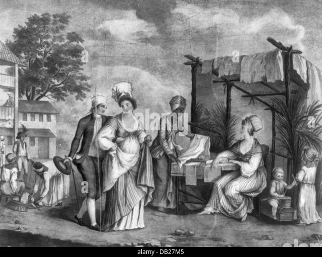 Market scene, circa 1850 - Stock-Bilder