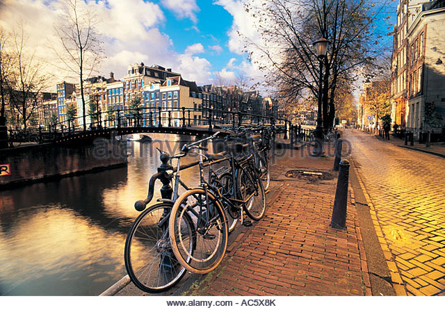 Canal scence in Amsterdam Holland Netherlands - Stock Image