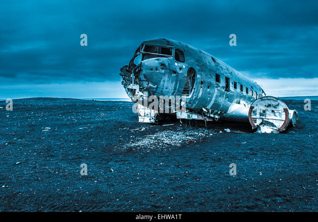 Dakota plane wreckage, Iceland - Stock Image