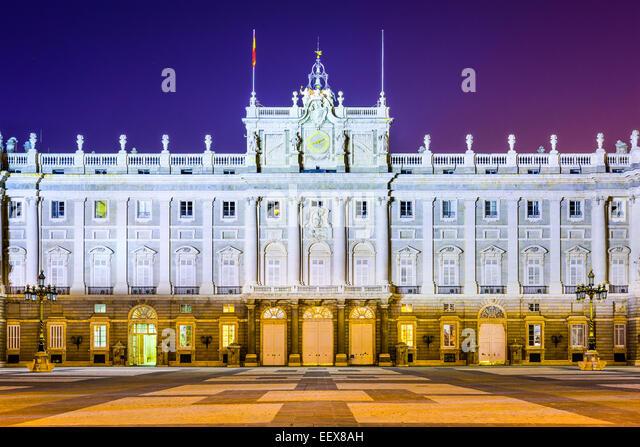 Madrid, Spain at the Royal Palace at night. - Stock-Bilder