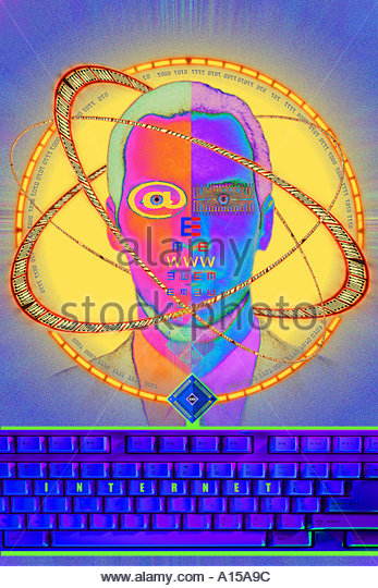 Abstract  thought think thinking vision Internet business man male suit tie face faces  facing binary data rings - Stock-Bilder