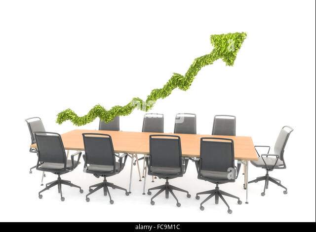 An arrow graph chart hovering over a conference table - presentation and strategy concept - Stock-Bilder