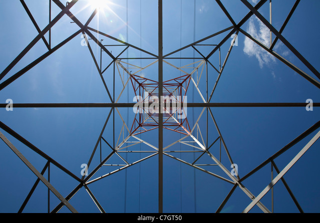 View of a metal tower from directly below - Stock Image