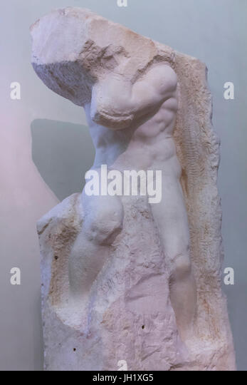 Marble Sculpture of Atlas, by Michelangelo,    Accademia Gallery, Florence, Tuscany, Italy, Europe - Stock Image