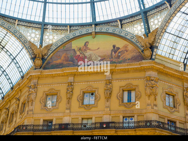 Milan, Milan Province, Lombardy, Italy.  Galleria Vittorio Emanuele II shopping arcade. Allegorical fresco representing - Stock Image