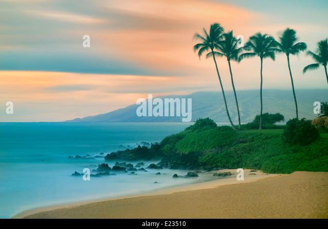 Maui coastline with sunset. Hawaii - Stock Image