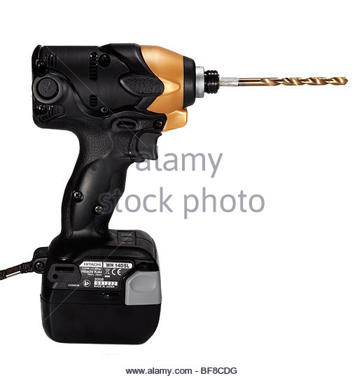 Hitachi cordless drill cut out on a white background. Cordless impact driver with Li-on rechargeable battery. - Stock Image