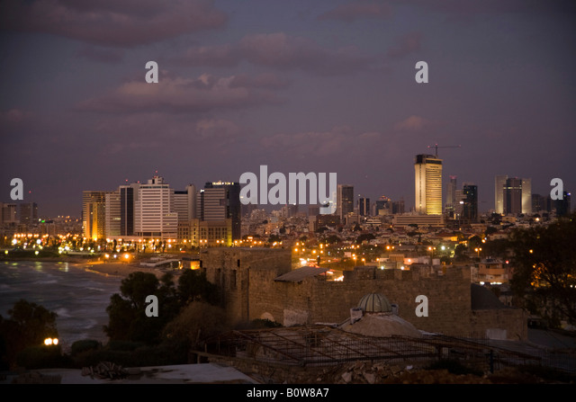 Tel Aviv skyline viewed from Jaffa, Israel, Middle East - Stock Image
