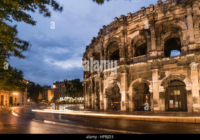 The Roman amphitheatre. Nimes, Gard Department, Languedoc-Roussilon, France - Stock Image